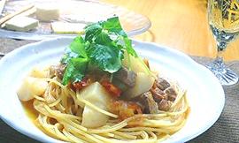 ラムと蕪のスパゲッティ