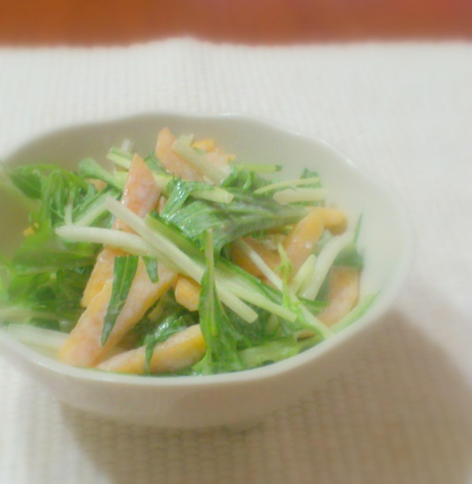 水菜と柿のサラダ 豆乳ドレッシング